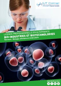 Plaquette de la LP Bio-industries et biotechnologies