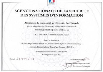 Labellisation de l'Agence Nationale de la Sécurité des Systèmes d'Information (ANSSI)
